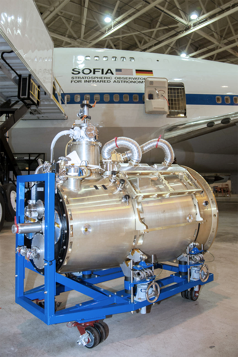 The High-resolution Airborne Wideband Camera-Plus, or HAWC+ awaits installation.on SOFIA. The aircraft is in the background. Image credit: NASA
