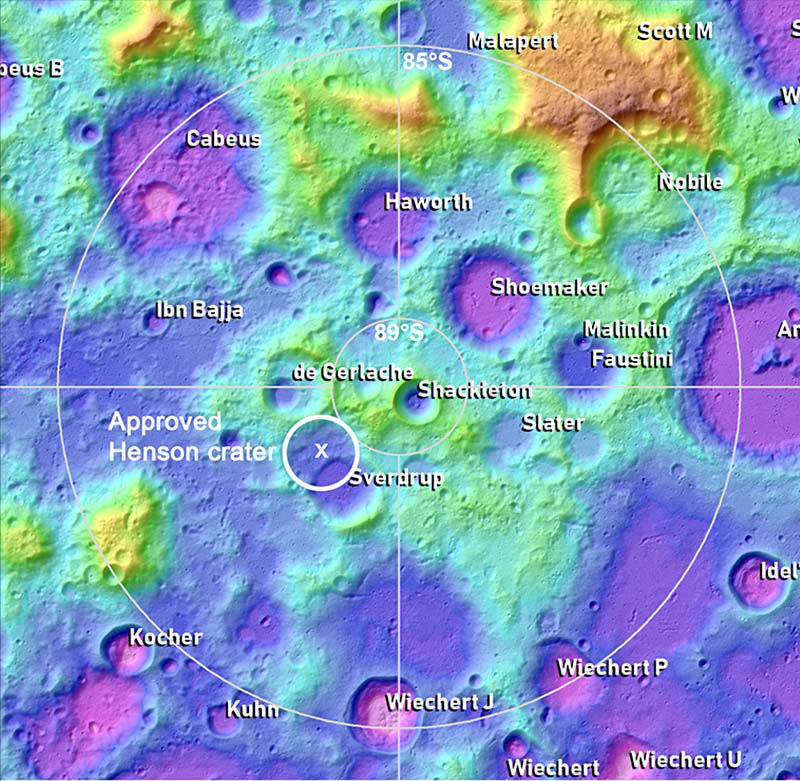 Location of Henson Crater. The crater's name  was proposed by Jordan  M. Bretzfelder and David A. Kring. It was approved by the IAU Task Group for Lunar Nomenclature,  on 1 September, 2021. Image credit: LPI Lunar South Pole Atlas—David Kring/J. Stopar/H. Meyer.