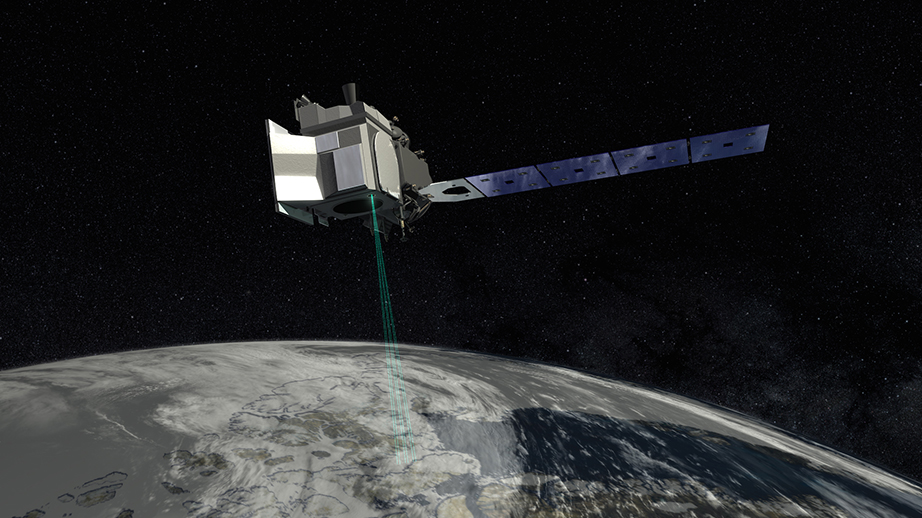 rendering of icesat-2 scanning the earth