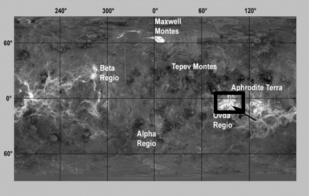 Magellan Radar mosaic of Venus; the Ovda Fluctus lava flow at the arrow's point. Image credit: NASA