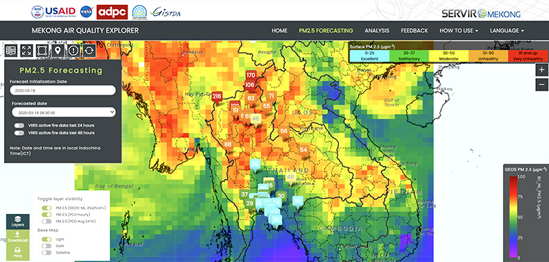 The image shows the layout of Mekong Air Quality Explorer with the forecasted PM2.5 layer is displayed as a color-coded map and overlayed with ground station locations (squares). The app also can show the past 24 or 48 hours of fire detected by the SNPP-VIIRS satellite. The app can be accessed from https://aqatmekong-servir.adpc.net/en/mapviewer/