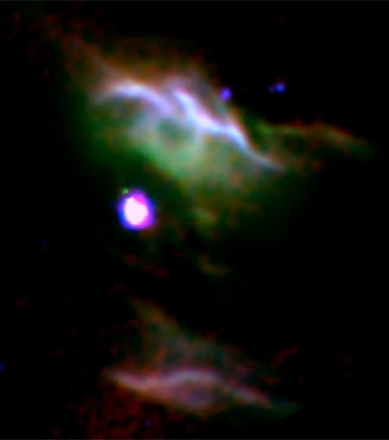 Combination of three color images of NGC 7023 from SOFIA (red & green) and Spitzer (blue) show different populations of PAH molecules. Image credit: NASA/DLR/SOFIA/B. Croiset, Leiden Observatory, and O. Berné, CNRS; NASA/JPL-Caltech/Spitzer