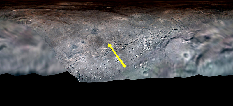 The yellow arrow denotes the flight path of New Horizons cameras over the surface of Charon.  Credit: NASA/Johns Hopkins APL/Southwest Research Institute/Lunar and Planetary Institute/Paul Schenk/Nate Rudolph