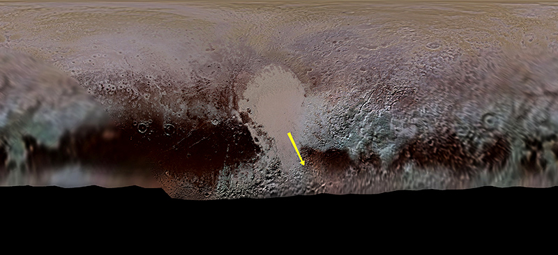 The yellow arrow denotes the flight path of New Horizons cameras over the surface of Pluto.  Credit: NASA/Johns Hopkins APL/Southwest Research Institute/Lunar and Planetary Institute/Paul Schenk/Nate Rudolph
