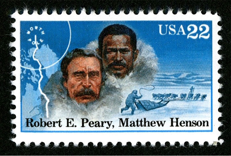 This stamp honors Polar explorers Robert E. Peary and his resourceful assistant Matthew Henson who undertook perilous expeditions that ended in a triumph at the North Pole which they reached together on April 6, 1909. Credit: USPS