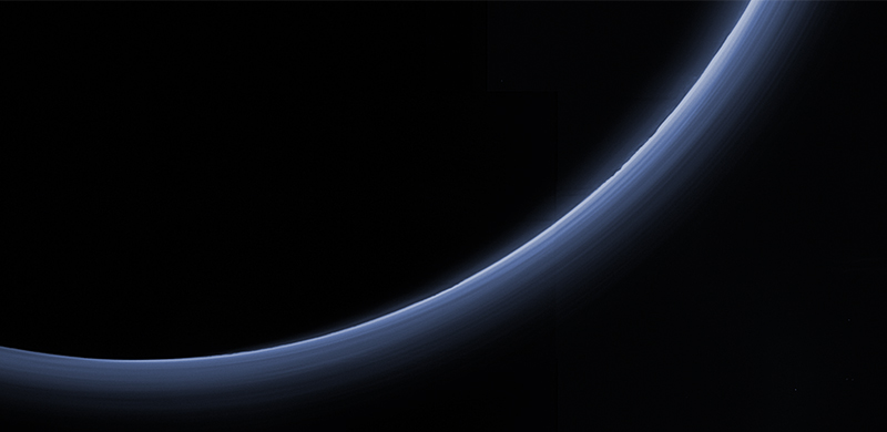 High-resolution color image of the haze layers in Pluto's atmosphere, acquired by the New Horizons spacecraft on July 14, 2015.