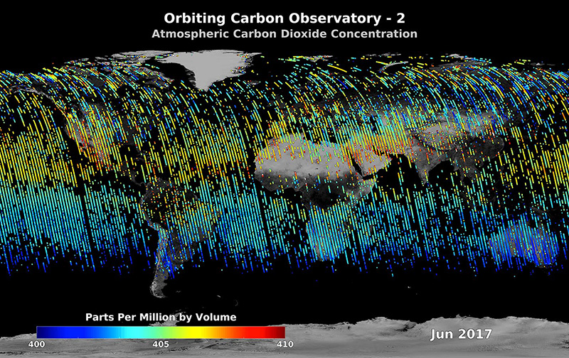 The Orbiting Carbon Observatory-2 satellite is providing NASA's first detailed, global measurements of carbon dioxide in the atmosphere. Credits: NASA/JPL-Caltech