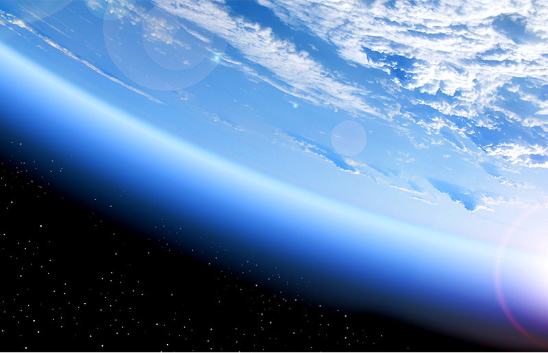 Photo of earth's ozone/atmosphere from space