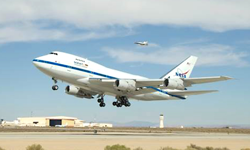 SOFIA taking off from NASA's Armstrong Flight Research Center in Palmdale, California. The flying observatory returned to science operations with new procedures in place to ensure the health and safety of staff while enabling the observations of celestial targets visible from the Northern Hemisphere. Image credit: NASA/Tony Landis