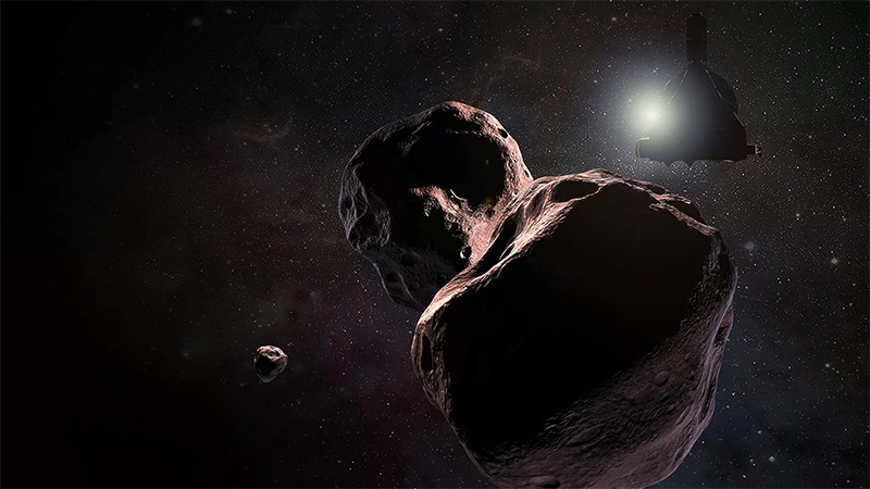 NASA's New Horizons spacecraft close flyby of the Kuiper Belt object Ultima Thule, shown here in an artist's illustration.  Image credits: NASA/JHUAPL/SwRI/Steve Gribben