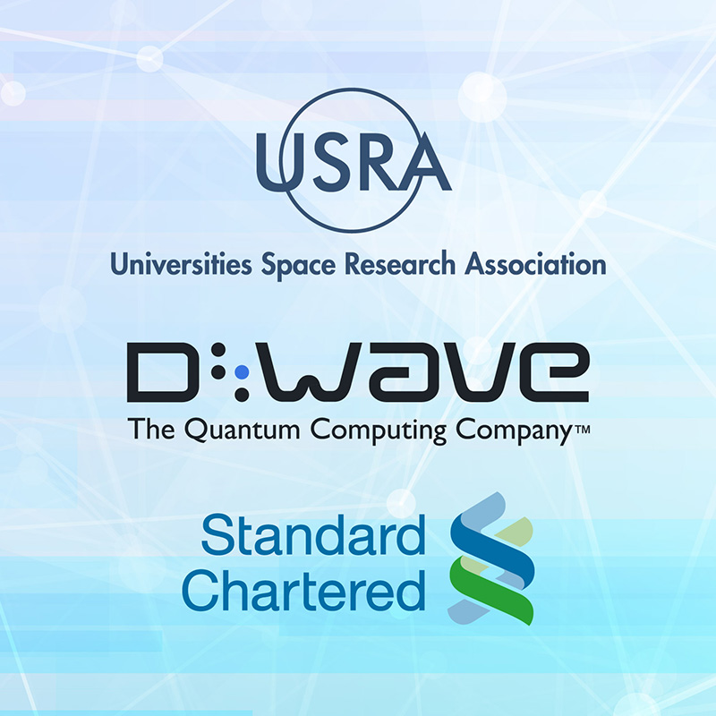 USRA, D-Wave, and Standard Chartered logos on abstract background