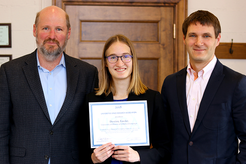 Philippe Geubelle (Aerospace Eng. Dept Head,) , Destiny Fawley, USRA award recipient and  Zach Putnam (COI Rep, Aerospace Eng.)