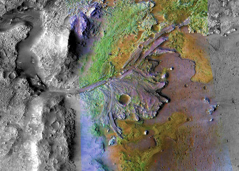 Perseverance will explore an ancient river delta where water once flowed on Mars's surface. Image Credit: NASA/JPL/JHUAPL/MSSS/Brown University.