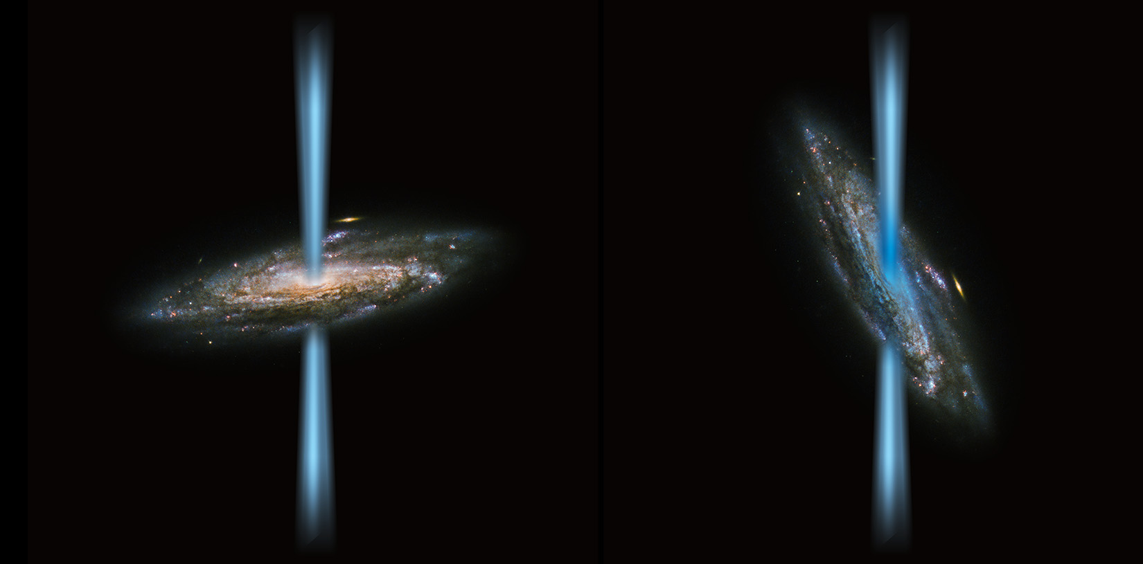 Artist's concept of a jet from an active black hole that is perpendicular to the host galaxy (left) compared to a jet that is launching directly into the galaxy (right) illustrated over an image of a spiral galaxy from the Hubble Space Telescope. SOFIA found a strange black hole with jets that are irradiating the host galaxy, called HE 1353-1917. The galaxy has 10 times more ionized carbon than its stars could produce. The gas, illustrated in blue in the right image, is concentrated near the galaxy's center, which indicates that the intense radiation from the black hole's jet is the source of the excess gas. This contradicts the long-held assumption that ionized carbon is a good indicator of newborn stars, and forces scientists to re-evaluate the effect black holes have on galaxies. Image credit: ESA/Hubble&NASA and NASA/SOFIA/L. Proudfit