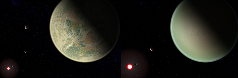 Conceptual image of water-bearing (left) and dry (right) exoplanets with oxygen-rich atmospheres. Crescents are other planets in the system, and the red sphere is the M-dwarf star around which the exoplanets orbit. The dry exoplanet is closer to the star, so the star appears larger.