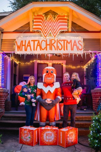and when they threw their neighborhood christmas party they invited whataburgers mascot whataguy to stop by with some whatachickn strips - Is Whataburger Open On Christmas
