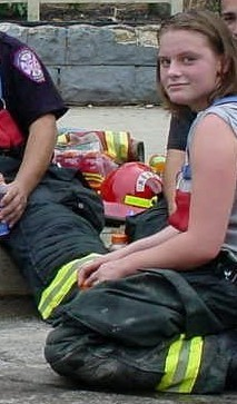 Joanna Volunteering with the Fire Dept