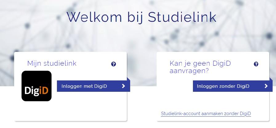 Het aanmeldscherm van Studielink.