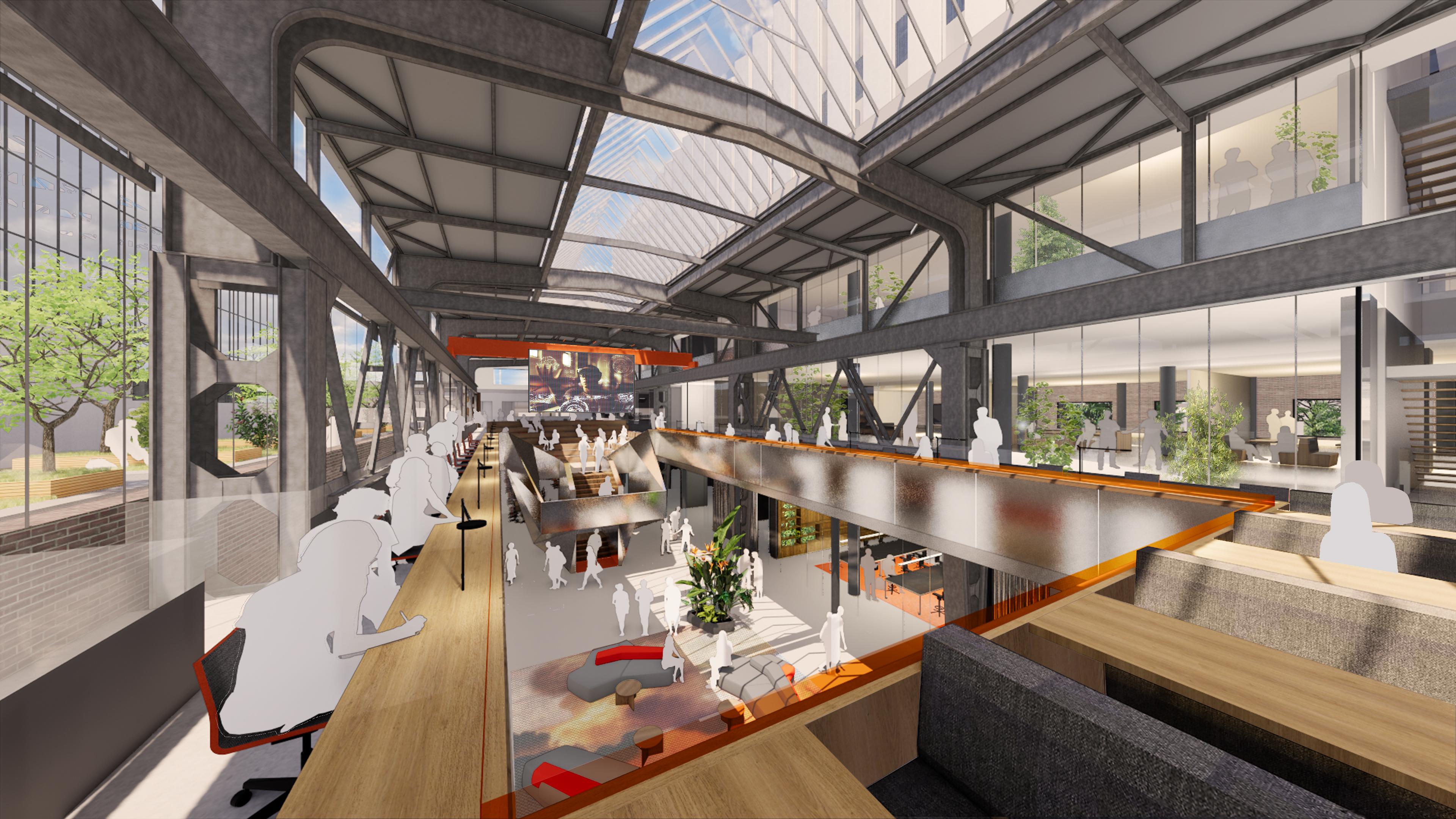 Impressie van de mediatheek in gebouw MindLabs, dat nu gebouwd wordt in de Tilburgse Spoorzone.