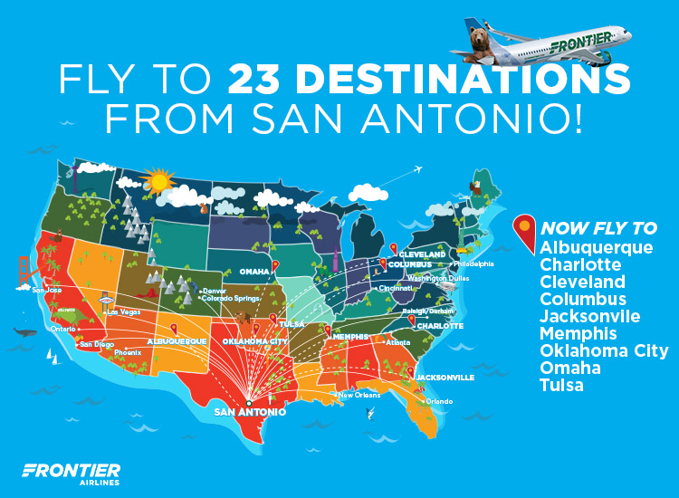 Frontier Adds Nine New Routes From San Antonio