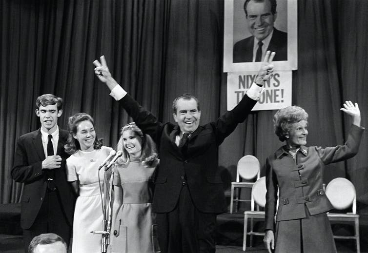 Richard Nixon, celebrating his election on Nov. 7, 1968