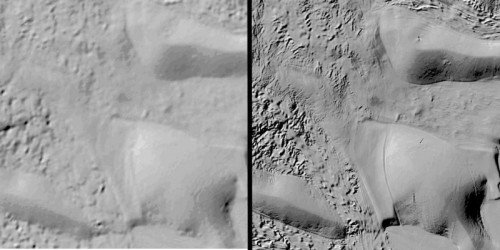 Comparison between prior available surface imaging (left) and REMA (right) shows dramatically improved detail.