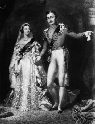 Queen Victoria and Prince Albert on their return from their marriage service in 1840. Rischgitz/Getty Images