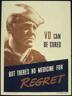 A poster from the Office for Emergency Management, Office of War Information, 1941–1945, encouraged people to get tested and treated for sexually transmitted diseases. Wikipedia