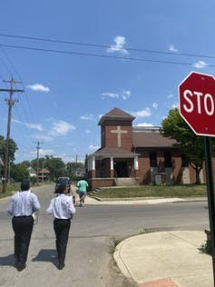 Teen drummers lead a march to Columbus's Family Missionary Baptist Church. Deanna Wilkinson, CC BY