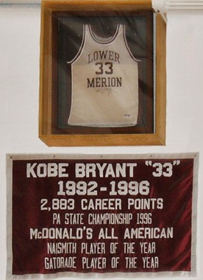 Kobe Bryant's high school jersey on display at Lower Merion High School. (Wikimedia)