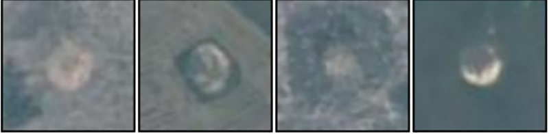 Bomb craters as seen by satellite.