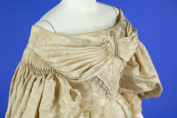 Wedding gown bodice, circa 1836