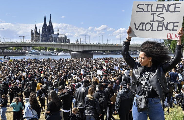 The death of George Floyd sparked protests around the U.S. and across the world, including this June 2020 rally in Germany.