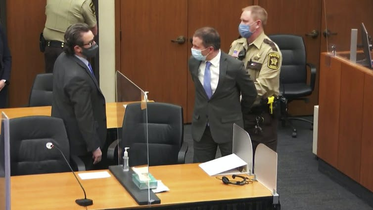 After the verdicts were read, Derek Chauvin was taken into police custody to await sentencing.