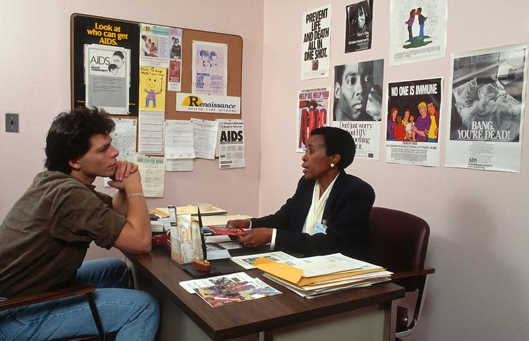 AIDS prevention counseling centers advised at-risk populations in New York in the 1980s.