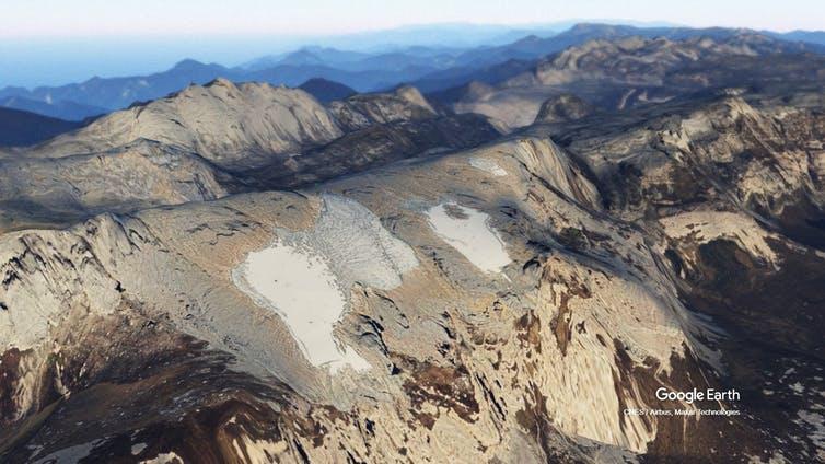 A 3D render of a glacier on the Puncak Jaya peak in Indonesia.