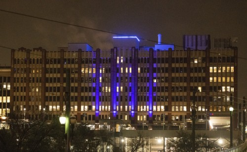 One Main Building at night with blue lights