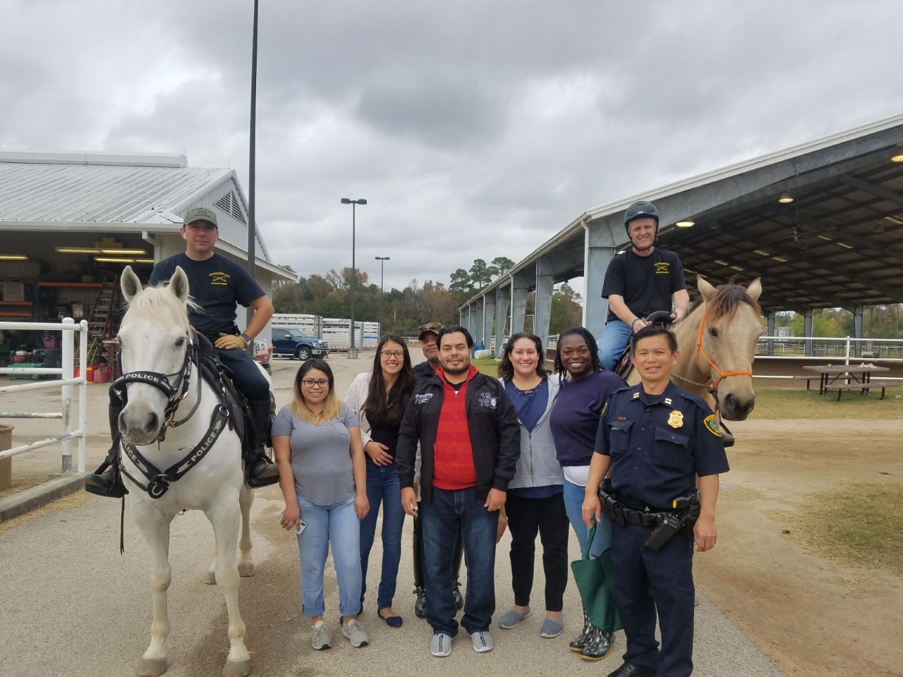 Students with police horses