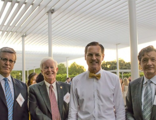 (From left) Rodolfo Coronado, Consul General of Peru, UST Professor and CIS Director Richard Sindelar, UST President Richard Ludwick ,UST Professor Ulyses Balderas