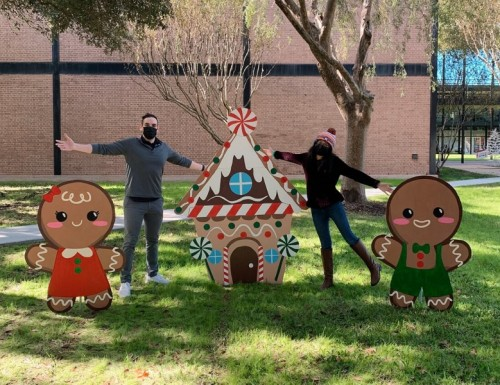 Christmas Wooden Cutouts on Campus