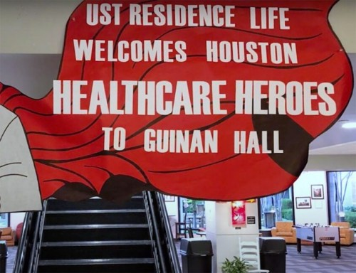 Welcome sign in Guinan Hall greeting medical personnel