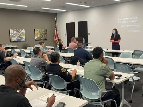 "HPD Mandarin training 2021"" – Ms. Jade Rush teaching students on first day of class."