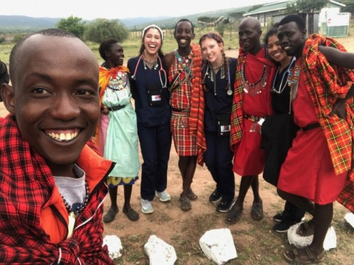 Maasai Mara Tribe and UST nursing students in Kenya