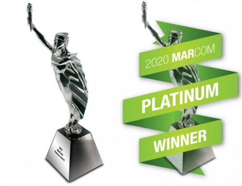 MARCOM Platinum Award and statuette