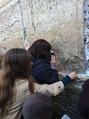 Audrey Novak prays at the Wailing Wall.