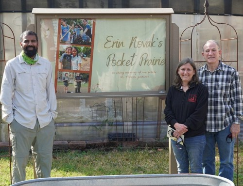 l to r: Dr. Shivas Amin with Novak's parents, Noel and Mark Novak, at dedication of the Erin Novak's Pocket Prairie