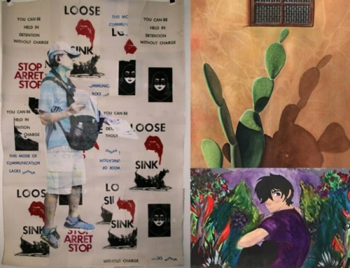 Collage of Three Art Students Exhibited Work