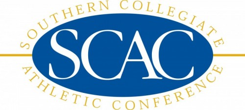 White letters SCAC against blue oval background, encircled by gold text: Southern Collegiate Athletic Conference