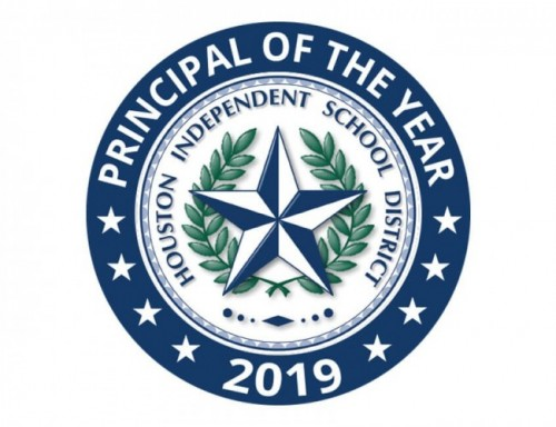 Blue and white graphic of 2019 Principal of the Year.