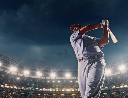 Baseball player hitting a  home run